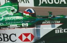 JAGUAR R1 F1 Dario Franchitti  side close up testing at Silverstone 2000 . Photo